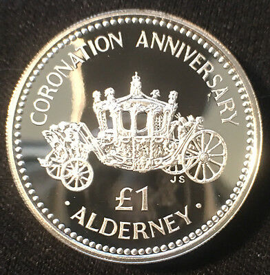 1993 Great Britain,  Alderney Proof 1 Pound Silver Coin With COA,  KM# 4