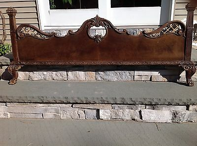 Vintage  Ornate Carved Full Size Bed Frame Foot Board or for Decorative Display