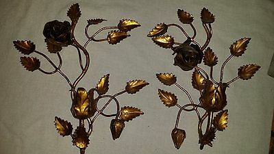 Vintage Pair Italian Tole GILT Rose sconces Floral metal HOLLYWOOD REGENCY