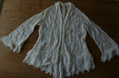 Antique Victorian Edwardian Gorgeous Delicate Lace Embroidered Top Wedding Boho