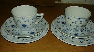 Bing and grondahl vintage blue and white butterfly two trios