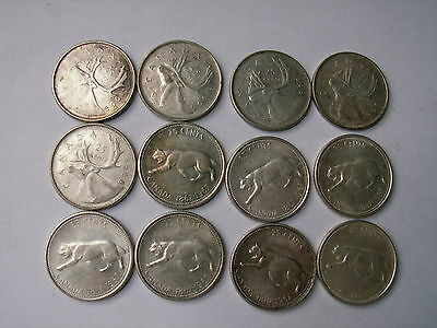 12 Silver Canadian Quarters ( 7-1967 , 5-1968 )