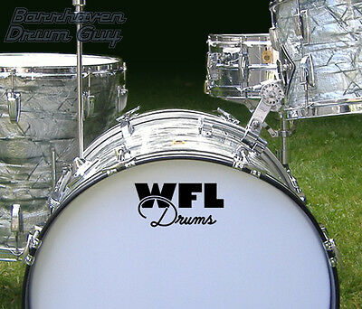 WFL, Vintage, Repro Logo - Adhesive Vinyl Decal, for Bass Drum Reso Head
