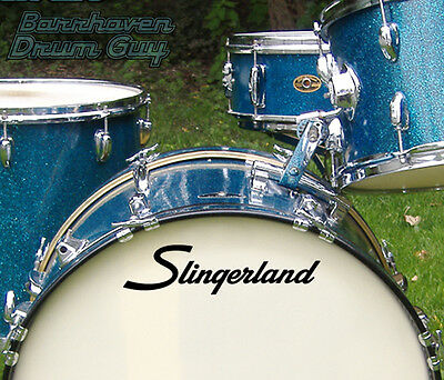 Slingerland, 70s Vintage, Repro Logo - Adhesive Vinyl Decal, for Bass Drum Head