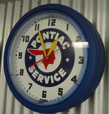 "20"" Large 110 Volt Neon PONTIAC Electric Wall Clock."