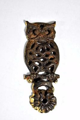 Cast Iron Owl Kerosene Lamp Wall Mount Bracket Hook