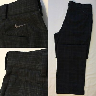 NIKE GOLF Dri-Fit Flat Front Plaid Golf Pants Size 36x32 Navy and Gray