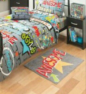 Graffiti Awesome grey bedroom rug 100% cotton..slogan print Awesome gr8 rug..