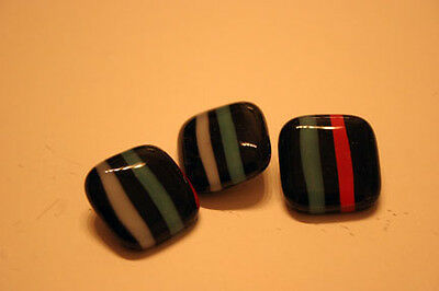 Hand made glass stripe buttons