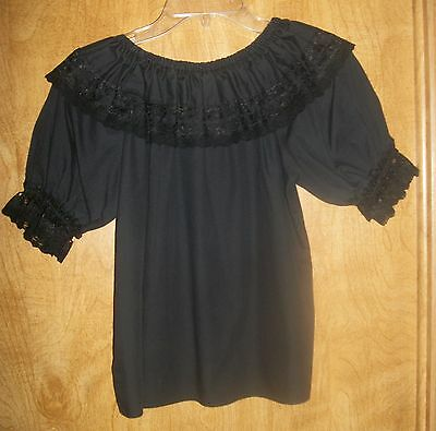 Very Nice Malco Modes Black Sq. Dance Blouse With Blk Lace - Size P
