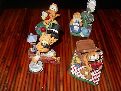 Figurines Garfield. Danbury Mint 1993. Lot of 4.