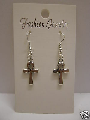 Egyptian Ankh Cross Earrings 925 Sterling Silver Wires - Clip On
