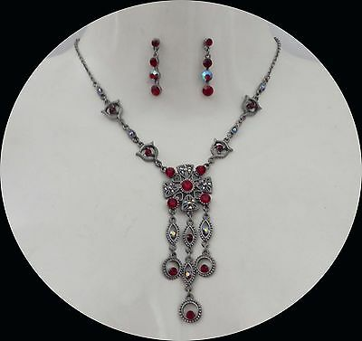 Vintage Necklace & Earrings Set, Siam/Red Jewelry Set, Perfect Gift #N5086