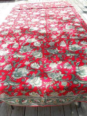 Wonderful Red Floral Table Cloth & Napkins from India.