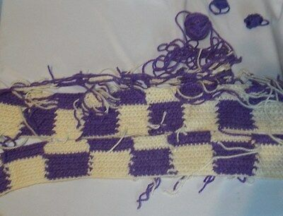 Afghan Unfinished Crochet Purple & White Squares/Soft