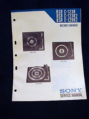 SONY BSR C-123/123R2/129R2 TURNTABLE RECORD CHANGER 1975 Owner's Service Manual