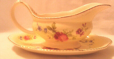 Wood Ivory Ware England Gravy Boat with Tray - Brampton Rose