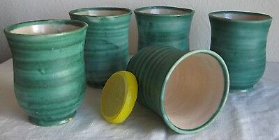 Japanese Pottery Cups Antique Set of 5 Celadon Hand-Made Late 19th Century