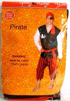 Pirate Costume Kit Size Adult One Fits Most w/ Head Tie Shirt Belt Pants 2016