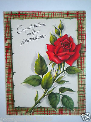 """Hallmark ~ EMBOSSED VINTAGE """"CONGRATULATIONS ON YOUR ANNIVERSARY"""" GREETING CARD"""