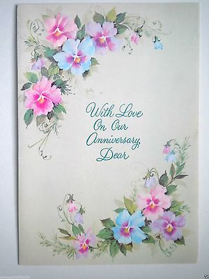 """Carlton Cards ~ VINTAGE """"WITH LOVE ON OUR ANNIVERSARY, DEAR"""" GREETING CARD"""