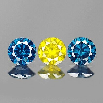 0.50cts 3.5mm Natural Diamond Round Fancy Blue Yellow Loose Diamonds Ring Set