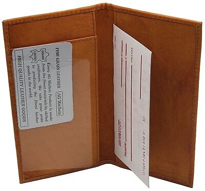 Genuine Leather Slim and Plain Checkbook Cover  Men/Women  Tan Color