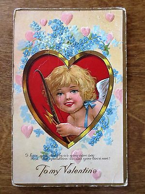 Early 1900s To My Valentine Day Cupid Hearts Flowers Embossed Postcard Used