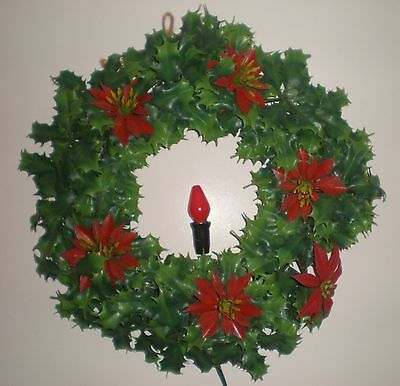 "VTG 50s 60s Plastic Christmas 13"" Lighted Wreath Holly Poinsettia Holiday Kitsch"