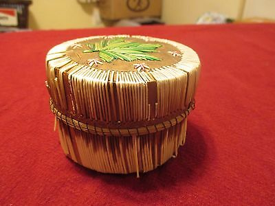 Vintage Native American Porcupine Quill Box With Green Leaf Decoration