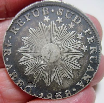 (1838) 4 REALES ( AREQUIPA ) SOUTH PERU (SILVER) ---VERY RARE-----one year only-