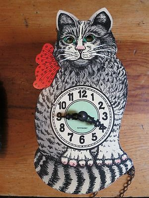 Vtg Wall MOVING ROLLING EYE Cat Cuckoo CLOCK Black Forest Pendulum WEST GERMANY