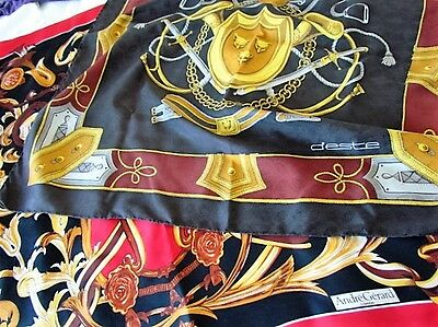 Heavy Silk Scarf Lot D'Este Horse Tack Andre Gerard  Abstract Vintage Scroll