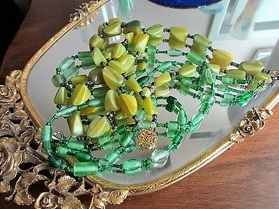 Murano Art Glass Vintage Necklace Lot Green Lame Marbled Frosted Beads excellent