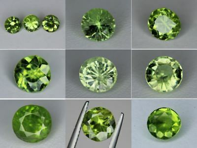 Natural Peridot Gemstone Loose Round cut gems 3mm 5mm 6mm 6.5mm 7mm 8mm 8.5mm