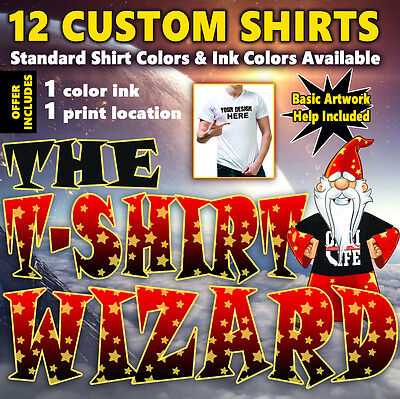 12 Custom Screen Printed T-Shirts - 1 ink color, 1 print location (front, back)