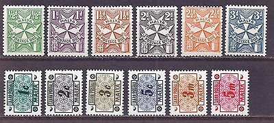 Malta - postage due - two sets - 12 stamps - MNH