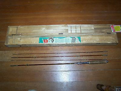 """Vintage OLYMPIC 4 Pcs. 8"""" Bamboo Fly Rod Case w/ Compartments Japan Fly Fishing"""