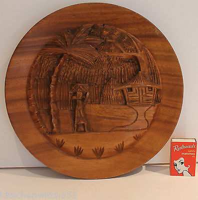 Vintage Asian Carved Picture Wooden Round Wood Outdoor Scene 25cm diam Oriental
