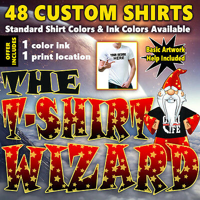 48 Custom Screen Printed T-Shirts - 1 ink color, 1 print location (front, back)
