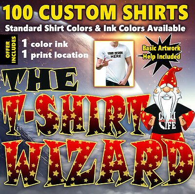 100 Custom Screen Printed T-Shirts - 1 ink color, 1 print location (front, back)