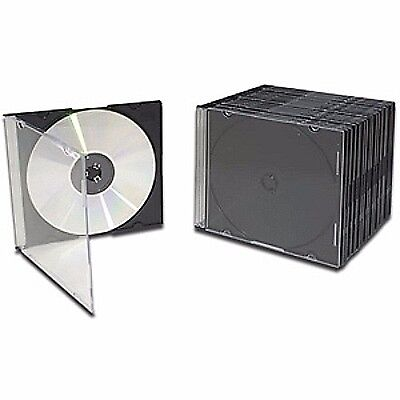 Slim Jewel CD/DVD Cases Clear Cover 50 Pack Disk Storage Set Single Tray Case
