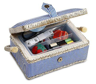 Sewing Basket Box with Accessories Kit Storage Vintage Singer Thread Travel Bag
