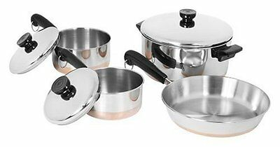 Revere 1400 Ware Cookware Tri-Ply 7 pc Set Copper Bottom Stainless Steel Cooking