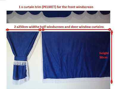 Truck Side  Curtains Blue With White Strings Volvo,man,daf,mercedes,scania,iveco