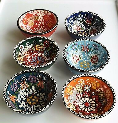 New Unique Turkish Handmade Ceramic Nut Bowl Colourful-6 Pieces-Christmas