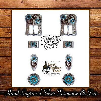Hand Engraved Silver Turquoise & Tea ~ Buckle Replacements For Western Headstall
