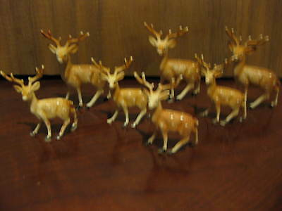 7 Miniature Reindeer Perfect For Christmas Village