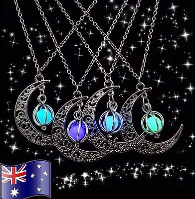 GLOW in the DARK Crescent Moon Pendant Necklace 925 Sterling Silver Chain Option