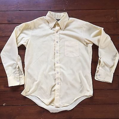 Vintage 60s Ivy Mod Skin Button Down Long Sleeve Shirt 16.5 Arrow Dover Yellow